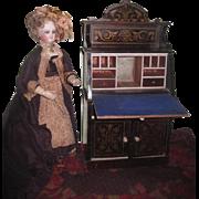 SALE!  VERY RARE Magnificent Grand Scale Antique Waltershausen Biedermeier Miniature Drop Front Secretary Desk!