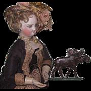 LARGE SCALE Antique German Miniature Cast Iron Enamel Moose Figurine!