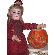 RARE Novelty Vintage Paper Mache Jack-O'-Lantern Candle Holder/Candy Container for DOLL DISPLAY!
