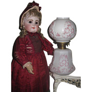 FANCY Gorgeous Antique Miniature Porcelain GWTW Oil Lamp for DOLL DISPLAY!
