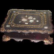 BEAUTIFUL Antique Miniature Paper Mache & M-O-P Child's Traveling Desk~AS FOUND
