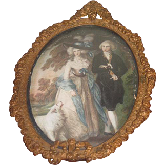 ELABORATE Antique Miniature Picture Frame W/Lithograph of Fancy French Couple!