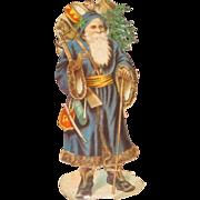 CHARMING Large Antique German Embossed Santa With Blue Robe/Toys Die Cut!