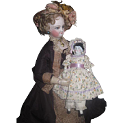 "SWEET 6"" Antique German China Head Doll in ADORABLE Outfit!"
