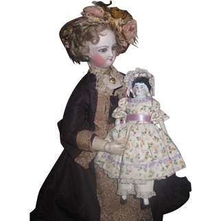 """SWEET 6"""" Antique German China Head Doll in ADORABLE Outfit!"""