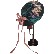 CHARMING Vintage Green Velvet & Floral Doll Hat for your FASHION GIRL!