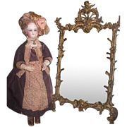 ELABORATE Antique Miniature Gilded Metal Ornate Chippendale Style Mirror for FASHION DOLL Salon!