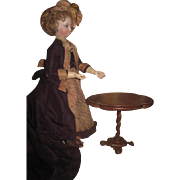 MAGNIFICENT Rare Antique Miniature Fancy Carved Wood Tilt-Top Occassional Table!
