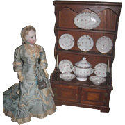 SUPERB Antique Miniature Doll Stepback Cupboard with Antique Chowder Set and Candlesticks!