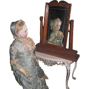 LOVELY Antique Victorian Miniature French Fashion Doll Cheval Mirror!