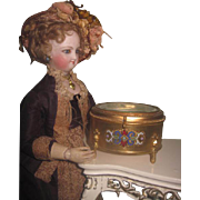 GORGEOUS Enameled Brass Antique French Miniature Footed Trinket Box Vitrine!