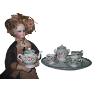 "BEAUTIFUL Antique Miniature Hand Painted Porcelain ""Tea for Two"" Fashion Doll Tea Set!"