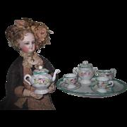 "BEAUTIFUL Antique Miniature Hand Painted Porcelain ""Tea for Two"" Fashion Doll Tea Set!"