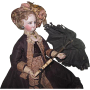CHARMING Authentic Rare Antique French Fashion Doll Black Lace & Bone Parasol~AS FOUND