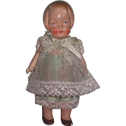 "ADORABLE All Original 5 1/2"" Antique German Painted All Bisque Little Girl Doll in FANCY Outfit!"