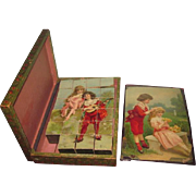 NEW YEAR SALE!  SWEET Antique German Boxed Lithographed Wood Block Puzzle Set Featuring Children!