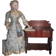 GORGEOUS Hard to Find French Fashion Doll Antique Miniature Toilette/Sewing Cabinet Table!