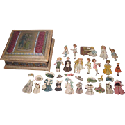 "New Year's SPECIAL SALE! Enchanting Set of Vintage ""Bisque"" Paper Dolls with Hand Painted Silk Presentation Box!"