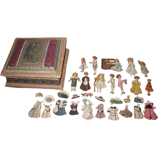 """New Year's SPECIAL SALE! Enchanting Set of Vintage """"Bisque"""" Paper Dolls with Hand Painted Silk Presentation Box!"""