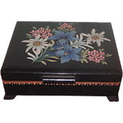 GORGEOUS Antique Hand Carved Floral Miniature Wooden Box for DOLL DISPLAY!