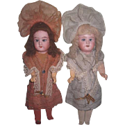 "FABULOUSLY FANCY Pair of Factory Original 10"" Antique German Recknagel Twin Girl Dolls!"