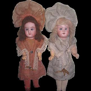 "FABULOUSLY FANCY Pair of Factory Original 10"" Antique German Recknagel Twin Girl Dolls!"