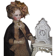 SWEET Vintage Miniature Hand Painted Porcelain Mantel Clock for your POUPEE!
