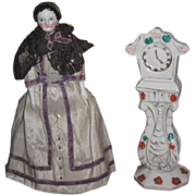 FEMININE Fancy Vintage Hand Painted Miniature Porcelain Grandmother Clock for your MIGNONETTE!