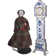 GORGEOUS Vintage Original Delft Pottery Miniature Grandfather Clock!