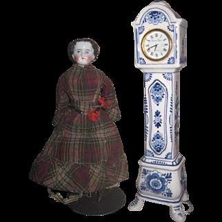GORGEOUS Vintage Original Delft Pottery Miniature Grandfather Clock!