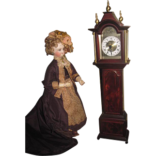 BEAUTIFULLY DETAILED Miniature Wooden Working Grandfather Clock for your FASHION DOLL!
