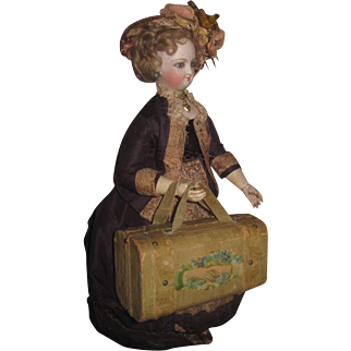 RARE Antique VicTorian Miniature Sewing Etui/Valise for FASHION DOLL Display!