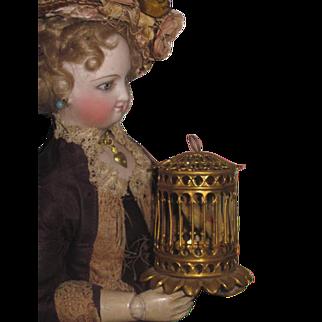 ORNATE Rare Antique Erhard & Sohne Miniature Ormolu Birdcage!