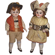 "EXCEPTIONAL PAIR of 3 1/2"" Antique German Factory Original All Bisque Glass Eyed Girl and Boy Doll!"