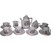 RARE and Complete Set for 6 Antique German Porcelain Tea Set with VICTORIAN CHILDREN Motif!