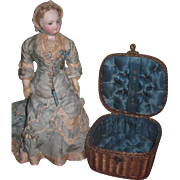 EXQUISITE Antique Victorian Miniature Wicker Sewing Basket for DOLL PRESENTATION!