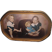 Sweet LARGE Vintage 1930's Hand Tinted Family Photograph Featuring SHIRLEY TEMPLE Doll!