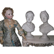 BEAUTIFUL Pair of Antique Miniature White Bisque Boy & Girl Pedestal Busts!