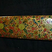 Hand Painted Kashmir India Lacquer Box Fine Eastern Art