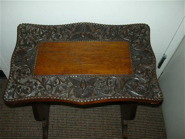 Carved English Table  India  Market Late 1800's Antique Furniture Peacock Bird Motif