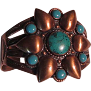 Old Solid Copper Bracelet Signed