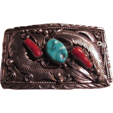 Native American Signed Sterling Silver Turquoise Coral Buckle