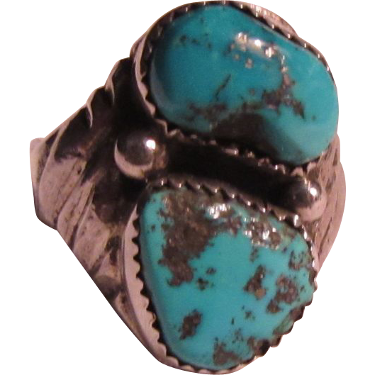 Signed Large Native American Ring Sterling Silver Turquoise Size 11 1/2
