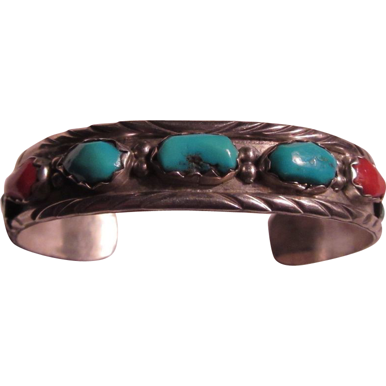 Native American Signed  Silver Turquoise Coral Bracelet