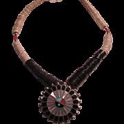 Native American Zuni Inlay Sunburst & Shells Necklace