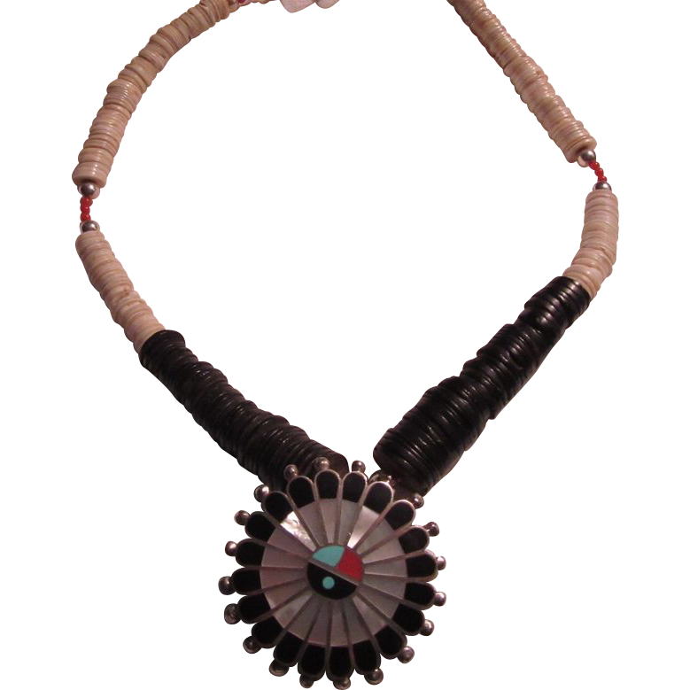 Native American Zuni Inlay Sunburst & Shells Necklace