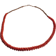 Native American Crochet Coral Beads And Silver Necklace