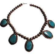 Native American Silver and Turquoise Pendants Necklace