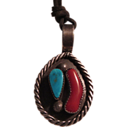 Native American Navajo Silver Turquoise Coral Pendant Pin Gene Platero