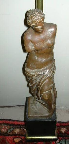 Venus De Milo Aphrodite Of Melos Old  Wood Statue Lamp